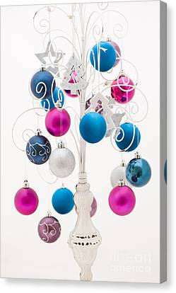 Silver Turquoise Canvas Print - Pink White And Blue Christmas by Anne Gilbert