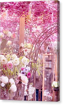 Pink World. Amstedam Flower Market Canvas Print by Jenny Rainbow