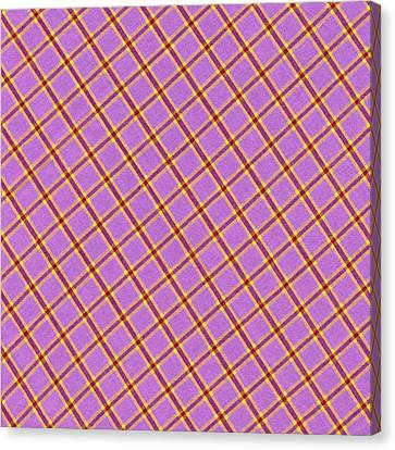 Traditional Quilt Canvas Print - Pink Yellow Red Plaid Textile Fabric Background by Keith Webber Jr