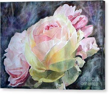 Pink Yellow Rose Angela Canvas Print by Greta Corens