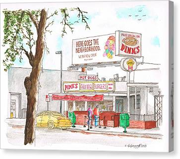 Pinks Chili Dogs - Hollywood - California Canvas Print by Carlos G Groppa