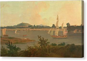 Pinnace Sailing Down The Ganges Past Monghyr Fort Ganges Canvas Print