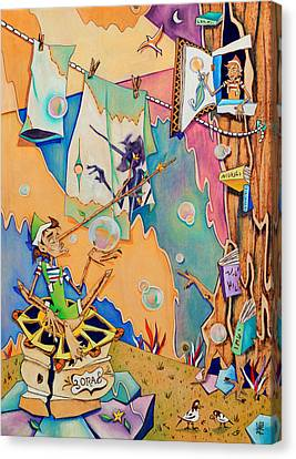 Pinocchio In Venice - Children Book Illustration Canvas Print by Arte Venezia