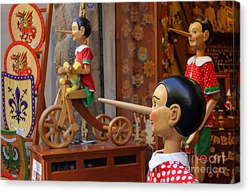Toy Shop Canvas Print - Pinocchio Inviting Tourists In Souvenirs Shop by Kiril Stanchev