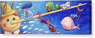 Pinocchio With The Fairy The Cat The Fox And The Whale Canvas Print by Loris Bagnara