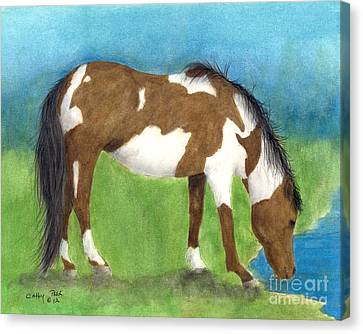 Pinto Mustang Horse Mare Farm Ranch Animal Art Canvas Print by Cathy Peek