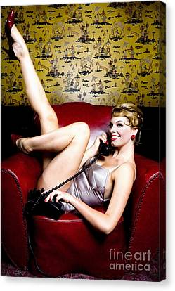 Pinup Girl On The Phone Canvas Print by Diane Diederich