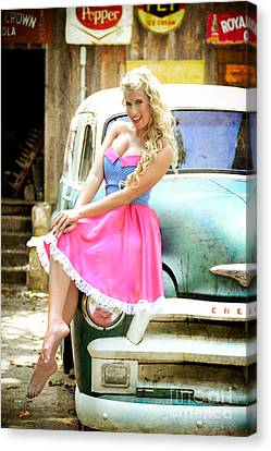 Pinup Girl With Classic Truck Canvas Print by Jt PhotoDesign