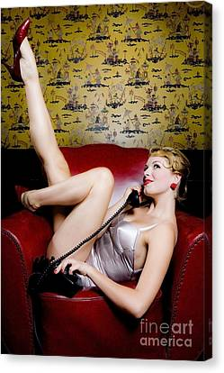 Pinup Girl With Phone Canvas Print by Diane Diederich