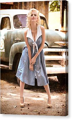 Pinup Marilyn Monroe Style Canvas Print by Jt PhotoDesign