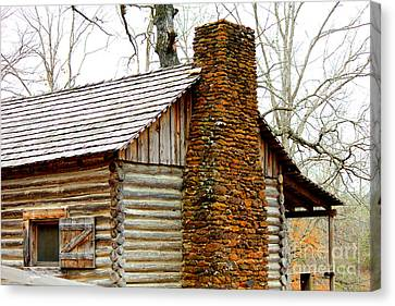 Pioneer Log Cabin Chimney Canvas Print by Kathy  White