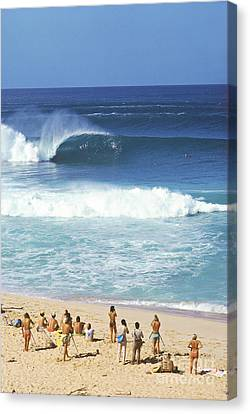 Pipeline Masters  Hawaii  1977 Canvas Print by Lance Trout