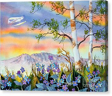 Canvas Print featuring the painting Piper Cub Over Sleeping Lady by Teresa Ascone
