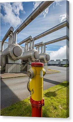 Pipes At Nesjavellir Geothermal Power Canvas Print by Panoramic Images