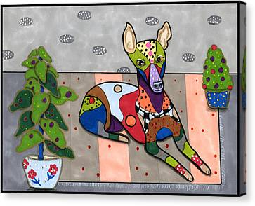 Greyhound Canvas Print - Pippy The Whippet by Raela K