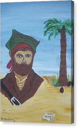 Canvas Print featuring the painting Pirate Bust by Martin Blakeley