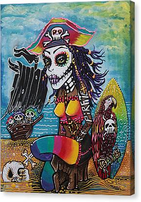 Pirate Girl - Surfs Up Canvas Print by Laura Barbosa