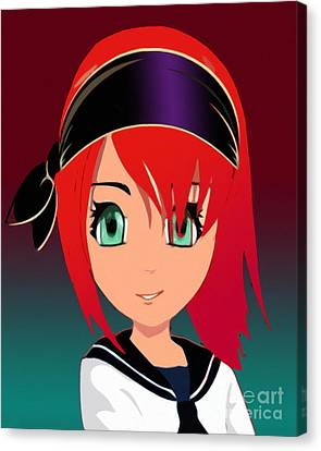 Pirate Manga Girl Canvas Print