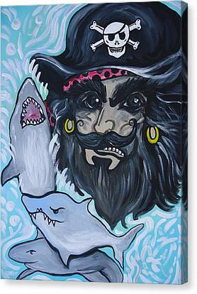 Pirate Shark Tank Canvas Print by Leslie Manley