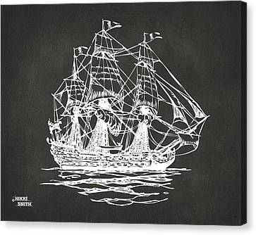 Pirate Ship Artwork - Gray Canvas Print by Nikki Marie Smith