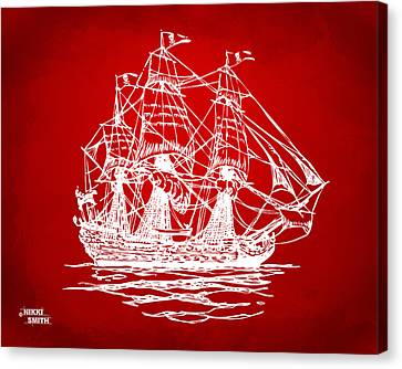Pirate Ship Artwork - Red Canvas Print by Nikki Marie Smith