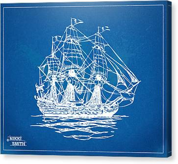 Pirate Ship Blueprint Artwork Canvas Print by Nikki Marie Smith