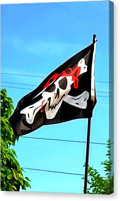 Pirate Ship Flag Of The Skull And Crossbones Canvas Print by Lanjee Chee