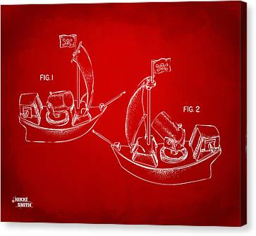 Pirate Ship Patent Artwork - Red Canvas Print by Nikki Marie Smith