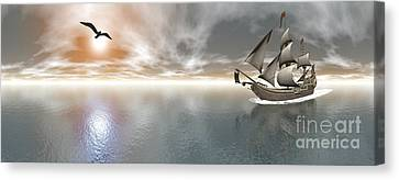 Pirate Ship Sailing The Ocean Canvas Print by Elena Duvernay