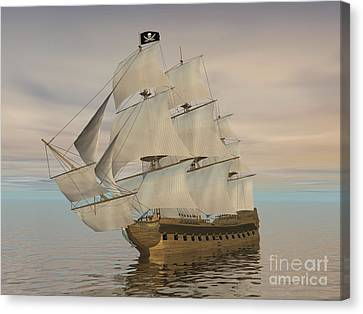 Pirate Ship With Black Jolly Roger Flag Canvas Print by Elena Duvernay