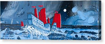 Pirate Ships In A Storm In The  South China Sea Canvas Print by Glenn  Russell