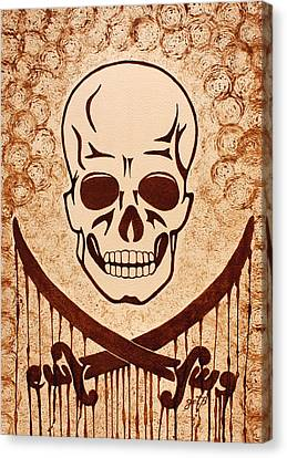Pirate Skull And Crossed Swords Symbol Coffee Painting Canvas Print