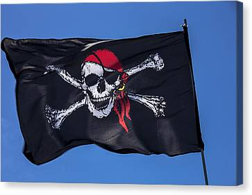 Sail Cloth Canvas Print - Pirate Skull Flag With Red Scarf by Garry Gay