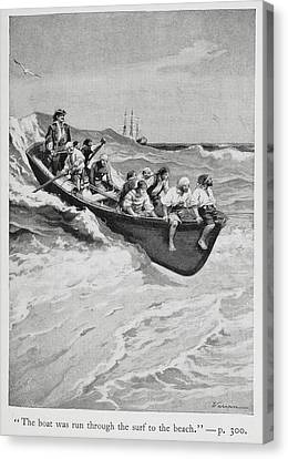 Pirates And Their Captain In A Boat Canvas Print by British Library