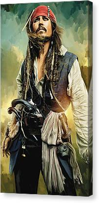 Pirates Of The Caribbean Johnny Depp Artwork 1 Canvas Print by Sheraz A