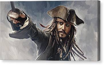 Pirates Of The Caribbean Johnny Depp Artwork 2 Canvas Print by Sheraz A