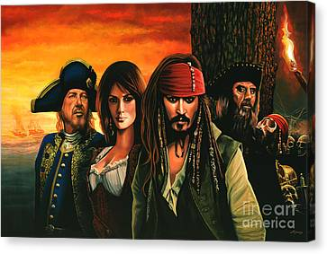 Johnny Depp Canvas Print - Pirates Of The Caribbean  by Paul Meijering