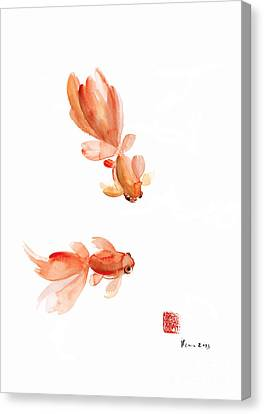 Pisces Zodiac Fishes Orange Red  Pink Fish Water Goldfish Watercolor Painting Canvas Print