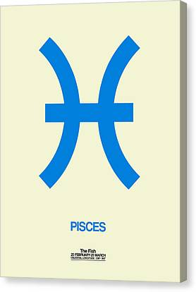 Pisces Zodiac Sign Blue Canvas Print