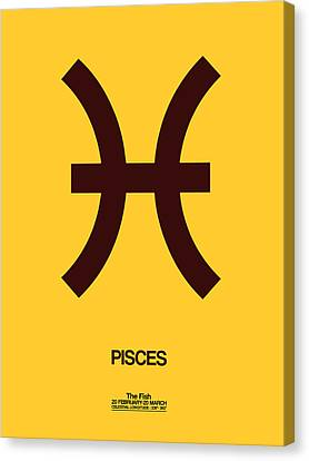 Pisces Zodiac Sign Brown Canvas Print by Naxart Studio