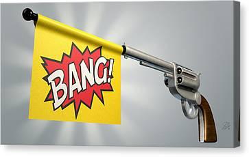 Pistol Bang Flag Canvas Print by Allan Swart