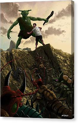 Pit Of Giant Insect Monsters Canvas Print by Martin Davey