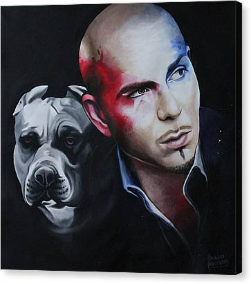 Pitbull Portrait Canvas Print by Alessandra Pagliuca