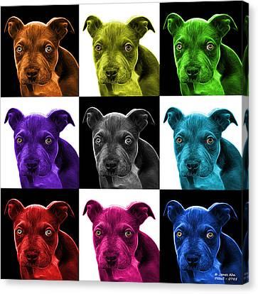 Pitbull Puppy Pop Art - 7085 V1 - M Canvas Print by James Ahn