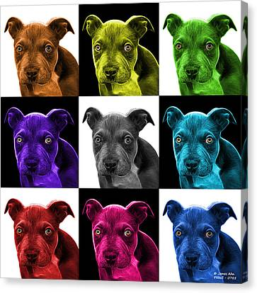 Pitbull Puppy Pop Art - 7085 V2 - M Canvas Print by James Ahn