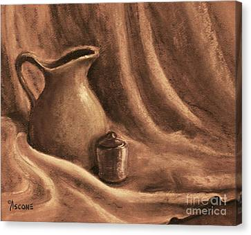 Pitcher And Lidded Jar Canvas Print by Teresa Ascone