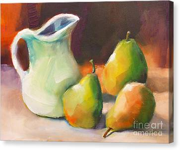 Pitcher And Pears Canvas Print by Michelle Abrams