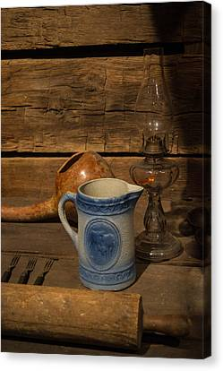 Old Pitcher Canvas Print - Pitcher Cup And Lamp by Douglas Barnett
