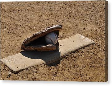 Glove Ball Canvas Print - Pitchers Mound by Bill Cannon