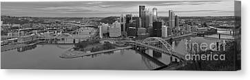 Pitsburgh Skyline Black And White Panorama Canvas Print by Adam Jewell